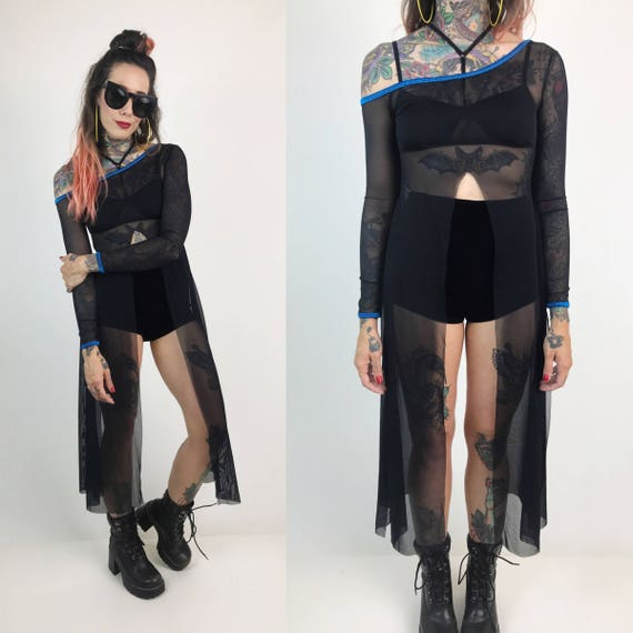 Black Mesh Long Sleeve Long Layer XS/Small - Off The Shoulder Black Mesh Dress With Side Slits - Sexy MESH Goth Layer Sheer Top Dance Layer