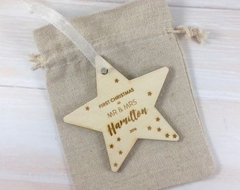 First Christmas as Mr & Mrs 2017 // Personalised Wooden Star Christmas Tree Decoration