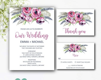 Bohemian Wedding Invitation Suite - Boho Wedding Invitation Set - Boho Wedding Invites - Printable Wedding Invitations Kits