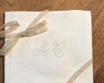 Large handmade embroidered napkin, monogrammed AC