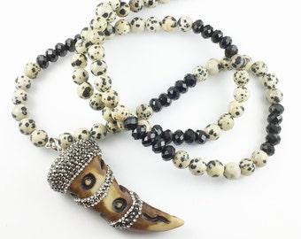 Bohemian Beaded Mala Necklace, Rhinestone Horn Pendant, Dalamatian Jasper Beads, Buddha, Yoga Necklace