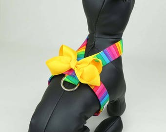 """Rainbow Dog Harness - Select Bow - Pet Harness """"Amore"""" Style, Tiny Dog Harness, Puppy Harness, Small Dog Harness,Teacup"""