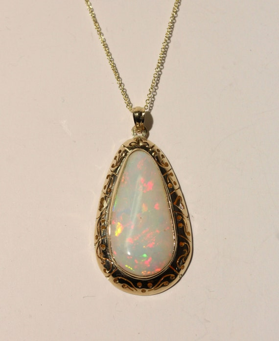 Natural White Opal Pendant - 14k Yellow Gold - Gemstone Necklace -  Jewelry -  #1446 Watch Video!