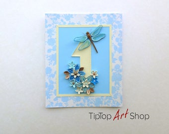 Handmade Quilling Card/ Invitation for a Baby Boy's 1st Birthday with Quilled Dragonfly