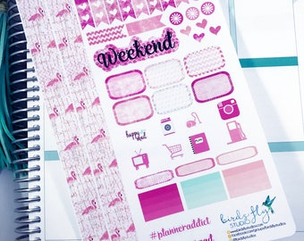 Flamingo Pink Personal Weekly Kit Stickers | Personal Planner Weekly Kit / Themed Weekly Kits / Flamingo Weekly Kit, Pink Weekly Kit