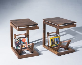 Clairmount End Tables, mid century, modern side tables with magazine rack