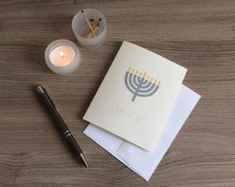 Light It Up Illustrated Menorah Hanukkah Card | Happy Hanukkah Inside