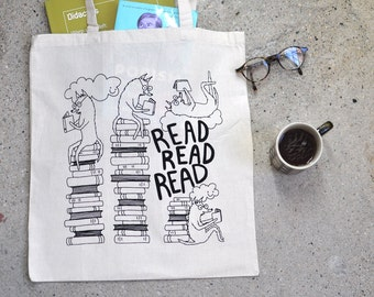 Tote Bag Read Read Read Book Bag Market Bag Dog Screen Printed