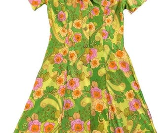 Perfect Retro 60s 70s Dress / Large / Psychedelic