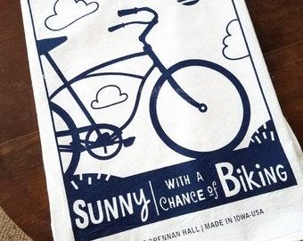 Biking, Today's Forecast Kitchen Towel in Dark Navy Ink