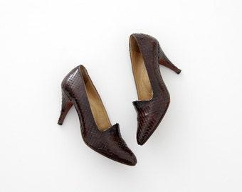 Vintage Shoes // 50s Snake Skin Pumps