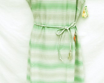 Vtg 60s Sparkly Maxi Dress Plus Size Deadstock Womens Clothing Silver Metallic Glitter Prom Dress Green Striped Lorac Original Sleeveless