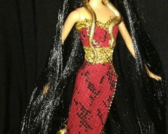 Stheno Greek Gorgon Snake Goddess - OOAK Barbie doll Dakota's song