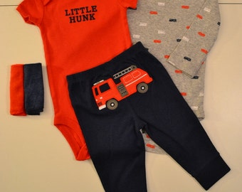 Little Hunk Baby Boy Cupcake Gift Set Multiple Sizes Available Fire Truck Unique Baby Shower Welcome Baby Present Fire Fighter Baby Clothing