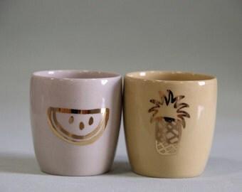 ensemble expresso moderne or fruits tasses à espresso / coupe de saké set / verres à liqueur unique cadeau de mariage / cadeau d'anniversaire