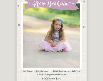 Photography Marketing. Card Template. Spring Photo Session. Editable Layered Photoshop File - Instant Download c138