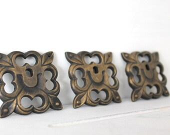 "Set of 3 Vintage Brass Escutcheons Decorative Furniture Hardware 1 3/4"""