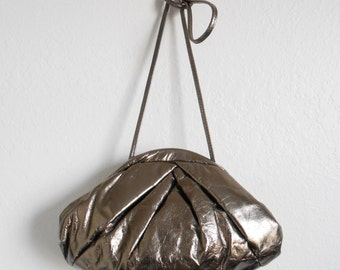 80s vintage bag - pewter silver leather purse - 80s Eccentric Ronnie bag