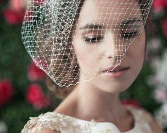 ZOOEY NETTING BIRDCAGE  - bridal birdcage veil, birdcage, russian netting, blusher veil, birdcage veil, wedding headpiece, netting birdcage