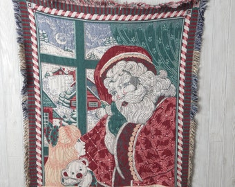 magic of christmas   Vintage 90s Goodwin Weavers Santa Claus Winter Snow 100% Cotton Woven Throw Blanket