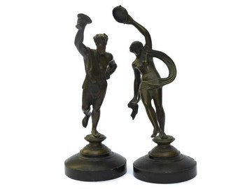 French Antique Bronze Statuettes of Bacchus and Baccante. Antique Greek Mythology Art Dionysus Statue.