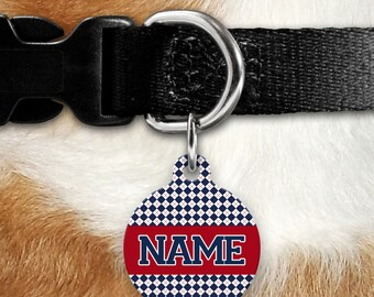 Baseball Blue Argyle Pet Tag - Sporty Personalized Tag - Double Sided - Name Tag - Red - Blue - Preppy Plaid -  Baseball Dog - Varsity Style
