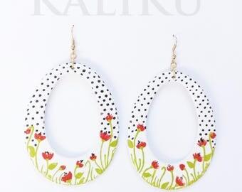 hand painted earrings, drop earrings, earrings, jewelry, paintings, Happy Painted oval big earrings, earrings designed