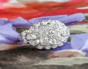 Art Deco Diamond Ring 1930's Vintage Old European Cut Diamond Halo Cluster Engagement Wedding Anniversary Ring Platinum