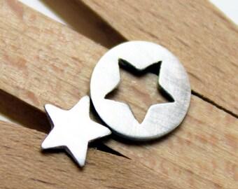 Sterling Silver Star Opposites Earrings - Star Post Earrings
