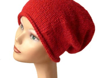 Women's Beanie Hat / Slouch Beanie / Womens Knit Hat / Women's Red Beanie / Red Knit Hat / Luxury Natural Fiber / Slouchy Beanie Hat