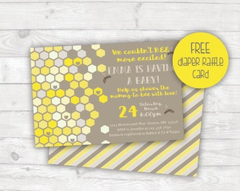 Bee Baby Shower Invitation, Mommy to Bee Baby Shower Invite, Gender Neutral Baby Shower, Honeycomb, Printable Invitation