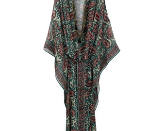 Silk kimono kaftan / beach cover up / in teal and burgundy with an Indian paisley border print