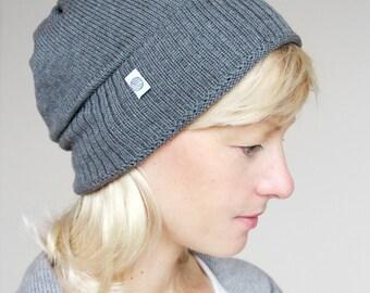 Strickmütze grau, Merino extrafine, hautfreundliche Kopfbedeckung, kein Kratzen