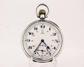 Vintage Silver 925 Omega Pocket Watch Antique Swiss Half Hunter Case