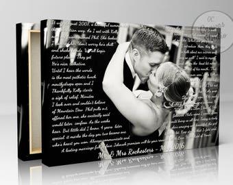 First dance lyrics, lyrics canvas print, your photo with lyrics, wedding song lyrics, wedding photo and lyrics, first dance photo, dance art