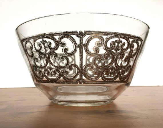Vintage Georges Briard glass bowl mid century silver scroll design