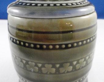 Irish Wade Porcelain Lidded Shamrock Jam Conserve or Mustard pot in blue green glaze, Made in Ireland