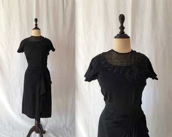 1940s sequin bow rayon dress