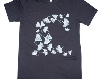 Mens T shirt Gingko-Unisex-Bella Canvas Crew Neck Tee-gifts for men-gifts for women-illustration-artwork-handprinted-ginko, leaves, leaf