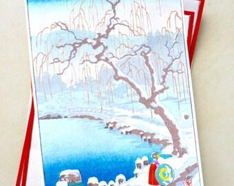 Vintage Japanese wood block handprint antique print 1930's winter landscape blossom tree