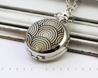 watch chain, chain watch, rings, black, pattern, geometric, lines, spiral, silver, watch, necklace, gift, elegant, boheme, girlfriend
