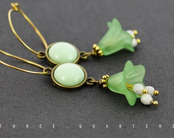 Earrings, hoops, gold, flowers, light green, green, antique, vintage, boheme, lime green, wedding, girlfriend, noble, spring, bride, ethno