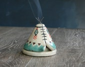 Handmade Incense Burner, Unique Ceramic Teepee, Teal Aztec Pattern, Meditation Altar, Stoneware Clay Pottery, Yogi Off Grid Gift