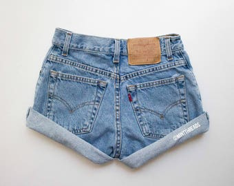 "SALE! ALL SIZES ""Hercules"" Vintage Levis High Waisted Denim Shorts / Levi Strauss Blue Rolled Cuffed High Waisted Shorts"