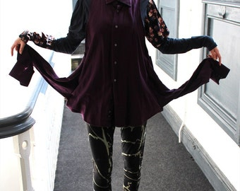 Alternative retro rework long berry purple shirt long dress