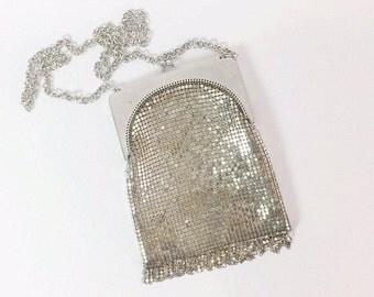 Vintage Mesh Purse / Whiting and Davis Mesh Purse / Silver Mesh Purse / Whiting and Davis Handbag  / Vintage Evening Bag