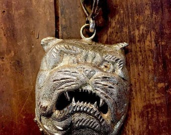 Bull Dog Pendant Large  Sterling Silver 925