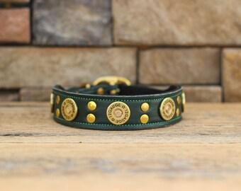 Leather Dog Collar // 12 Gauge Shotgun Shell Dog Collar
