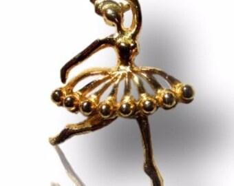 Ballerina Gift, Ballerina Brooch Pin, Vintage Figural Brooch, Dancing Ballerina, Scatter Pin, Gold Tone Ballerina Brooch, Free US Shipping