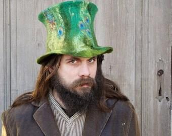 Unique fancy felted top hat St. Patrick's Day Irish green high hat Leprechaun top hat Magic wizard's hat Festival fashion unusual hat OOAK